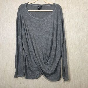 BOBEAU Gray Twist Front Tunic Top, Size 3X